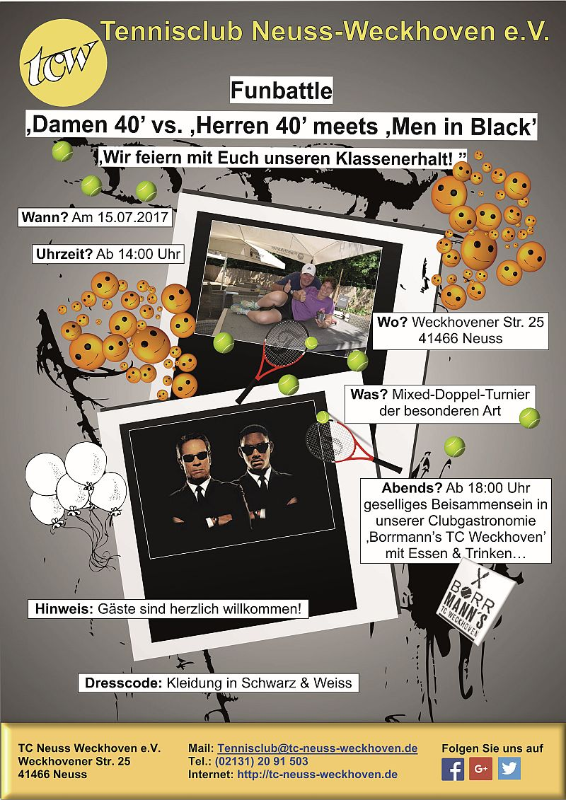 "Funbattle ""Damen 40 vs. Herren 40 meets 'Men in Black'"" am 15.07.2017"